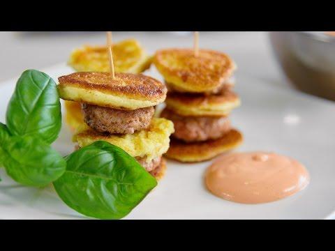 Mini Pancakes mit Hackfleisch