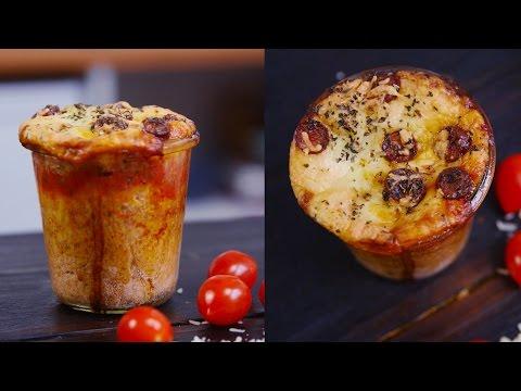 herzhafte Tassen Pizza | Mikrowelle & Backofen